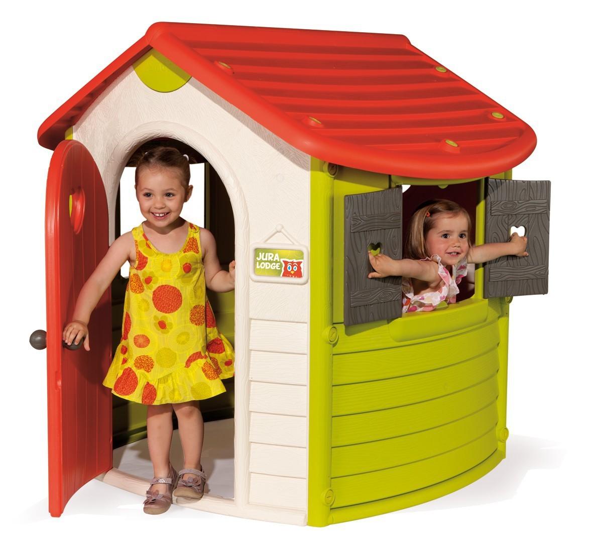 SMOBY 310190 domček pre deti Jura Lodge s okenicami biely s UV filtrom 132 cm vysoký od 24 mesiacov