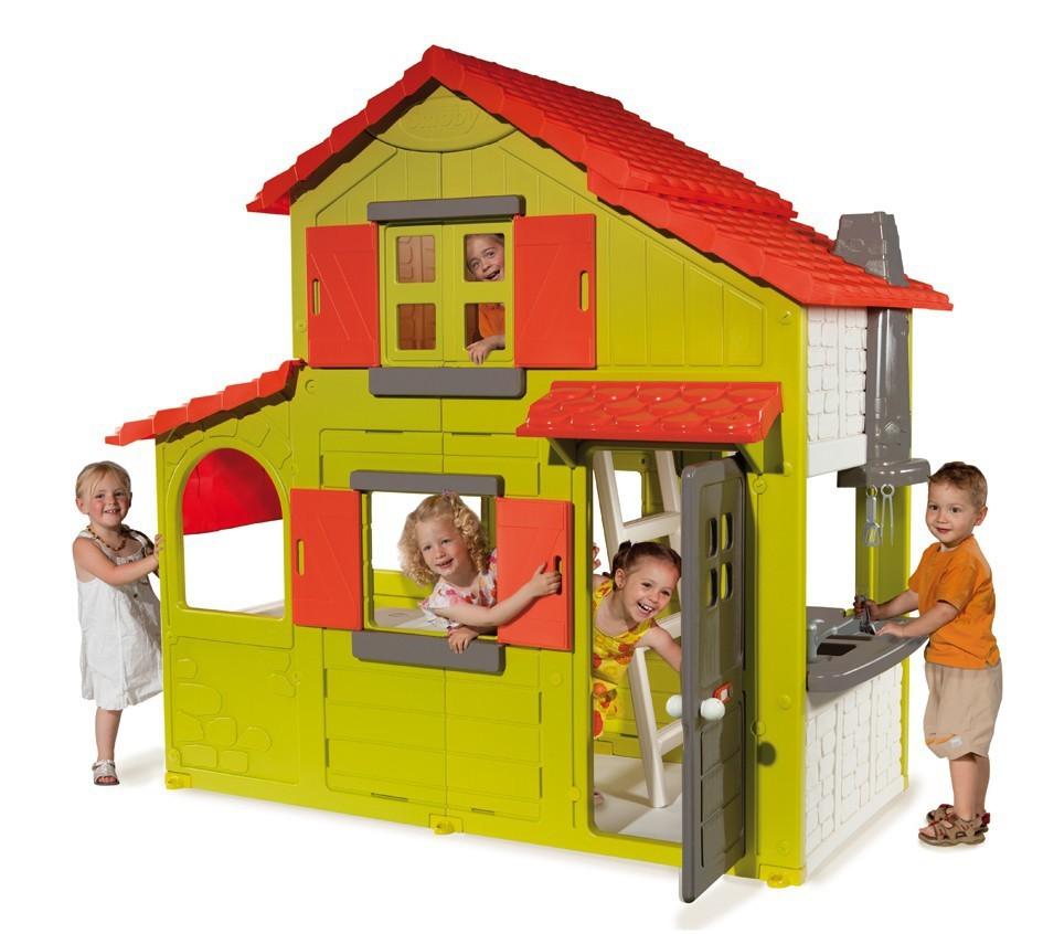 SMOBY 320021 Domček Duplex 2 poschodia so zvončekom so 6 doplnkami a s UV filtrom 204 cm vysoký
