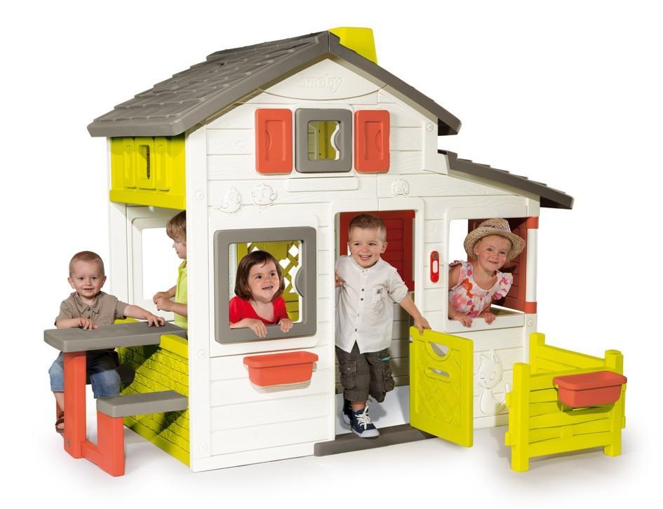 SMOBY 310209 Domček Priateľov s predzáhradkou so zvončekom s UV filtrom 172 cm vysoký