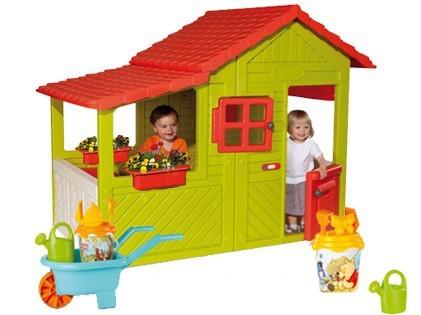 SMOBY 310247-1 Domček Maison Floralie Záhradník s fúrikom so setom do piesku a zvončekom s UV filtrom 148 cm vysoký od 24 mesiacov
