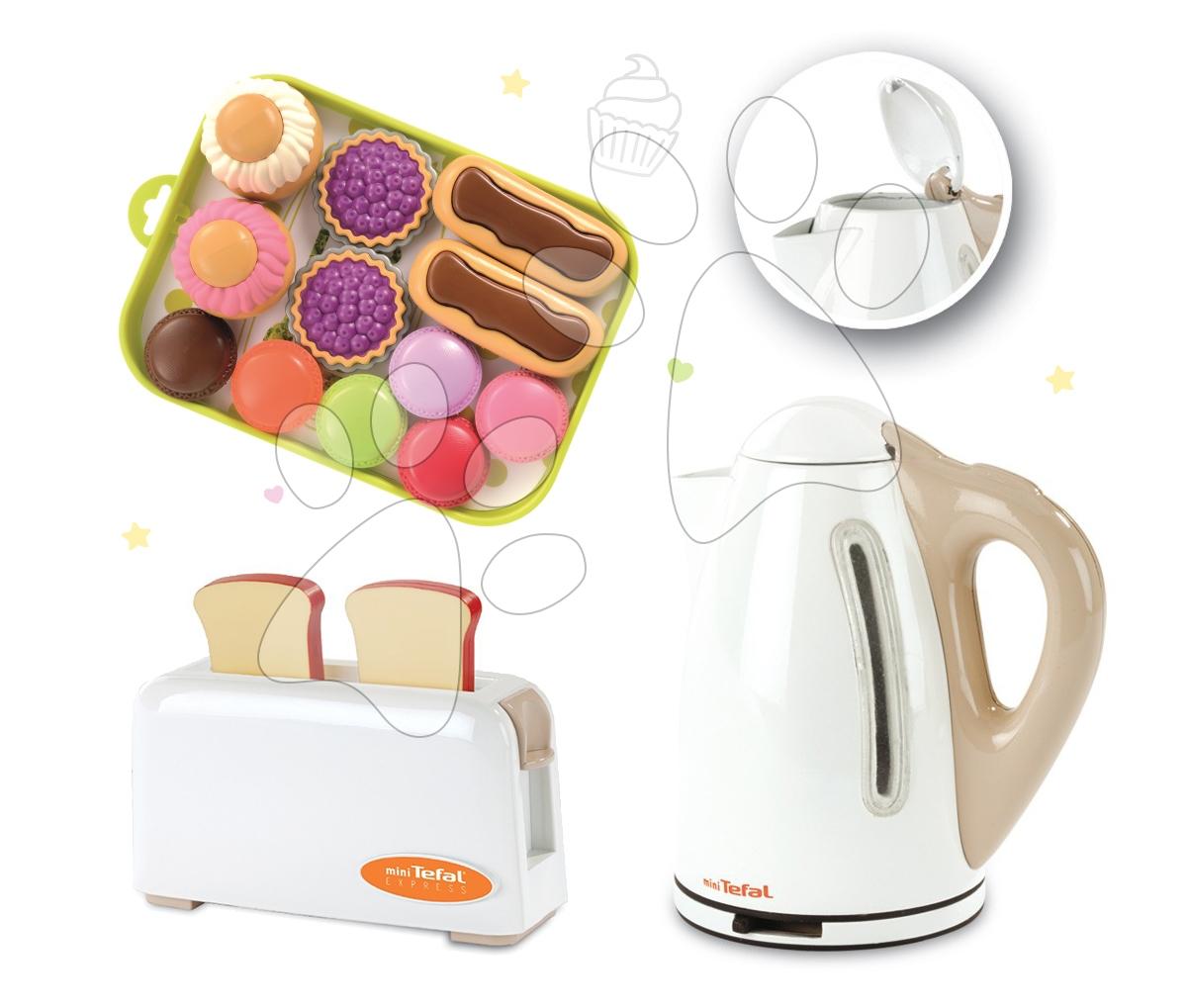 Set dětský toaster Mini Tefal Smoby, rychlovarná konvice Tefal a koláčky na podnose