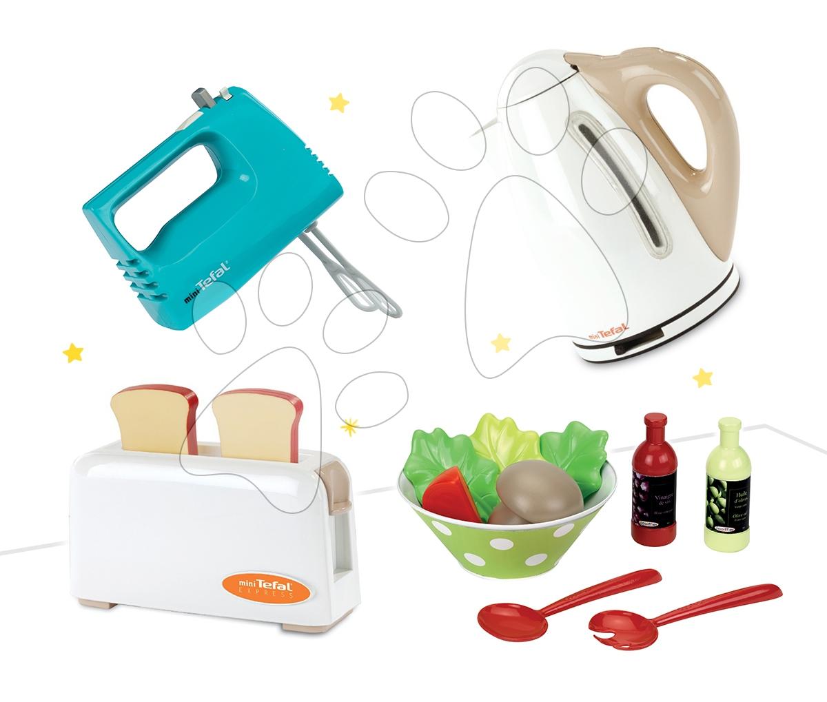 Set dětský toaster Mini Tefal Smoby, ruční mixér Tefal, rychlovarná konvice Tefal a miska se zeleninou