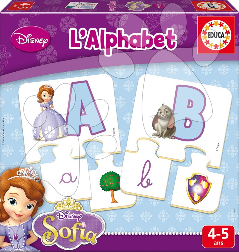 Puzzle Písmena abecedy Sofia První Educa 78 dílů od 4 let