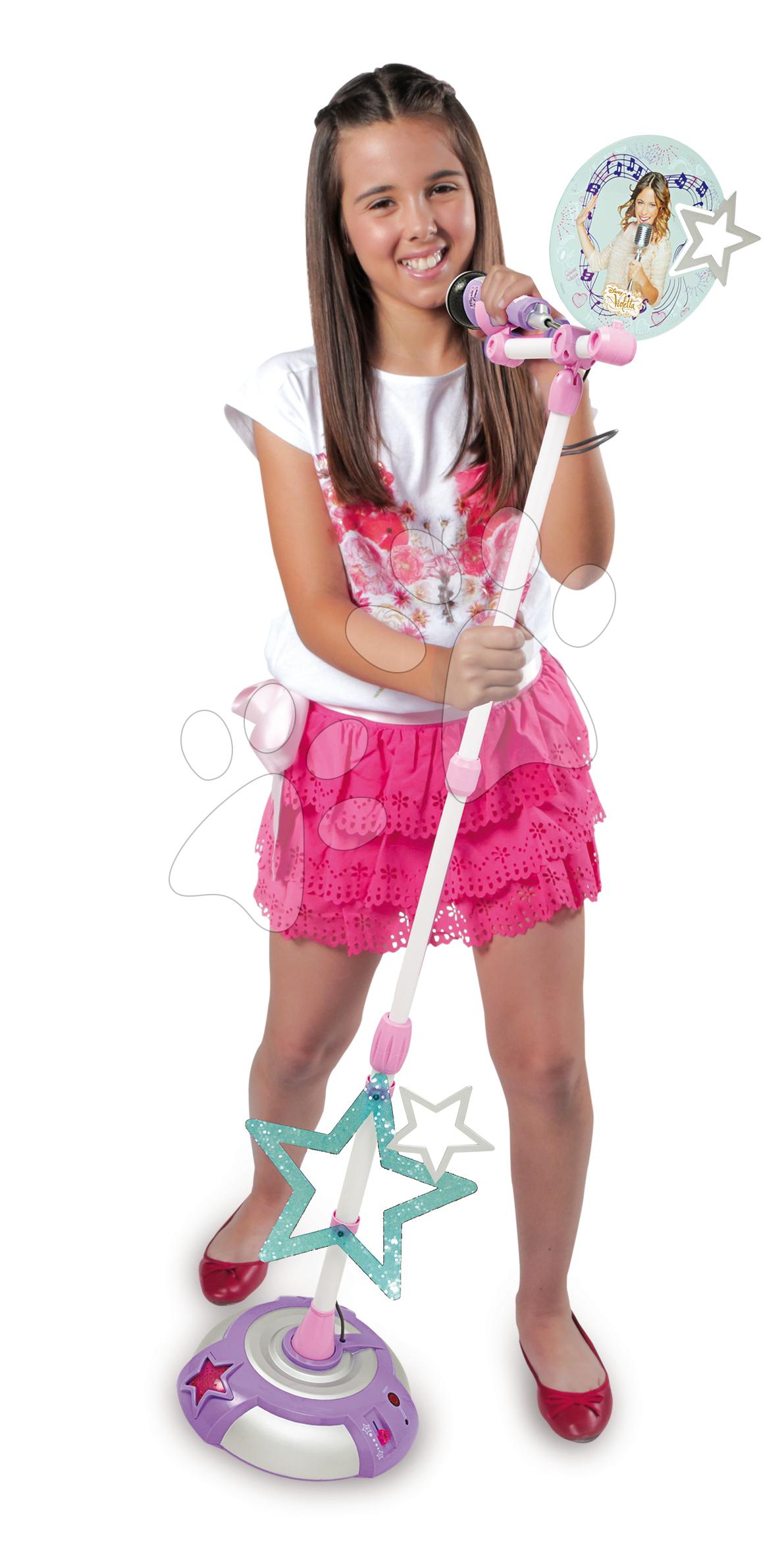 Detské hudobné nástroje - Mikrofón Violetta Zlatá edícia Smoby so stojanom ružovo-biely