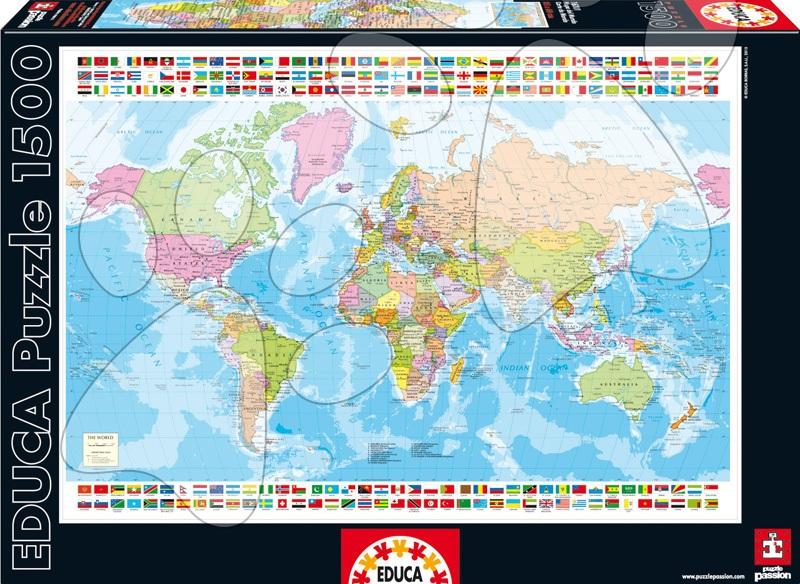 Puzzle Genuine Mapa světa Educa 1 500 dílů