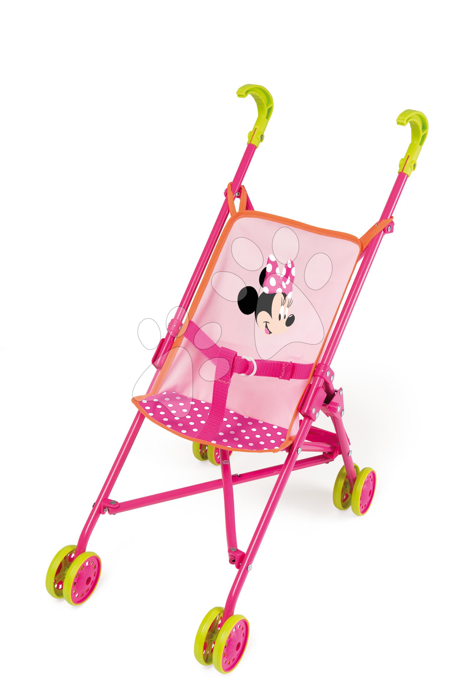 Dětský kočárek pro panenku Minnie Smoby skládací bugina (58 cm ručka) od 18 měsíců