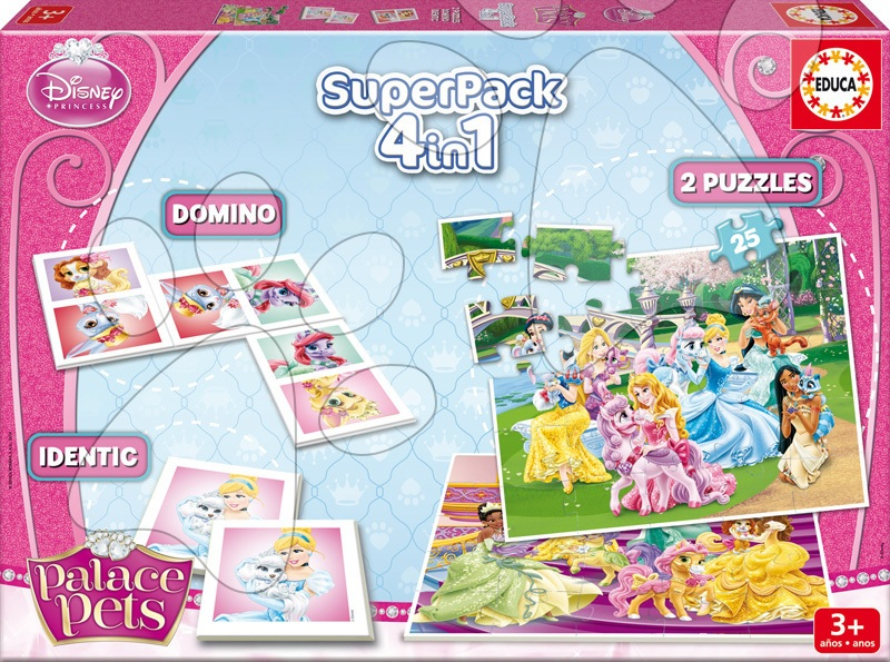 Puzzle Palace Pets SuperPack 4 v 1 Educa progresivní 2x puzzle, pexeso a domino