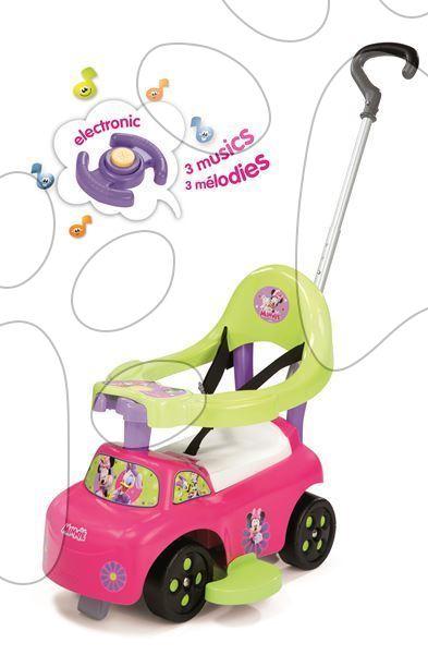 Odrážadlá od 6 mesiacov - Odrážadlo a chodítko Minnie Smoby Auto 2v1 s melódiami ružové od 6 mes