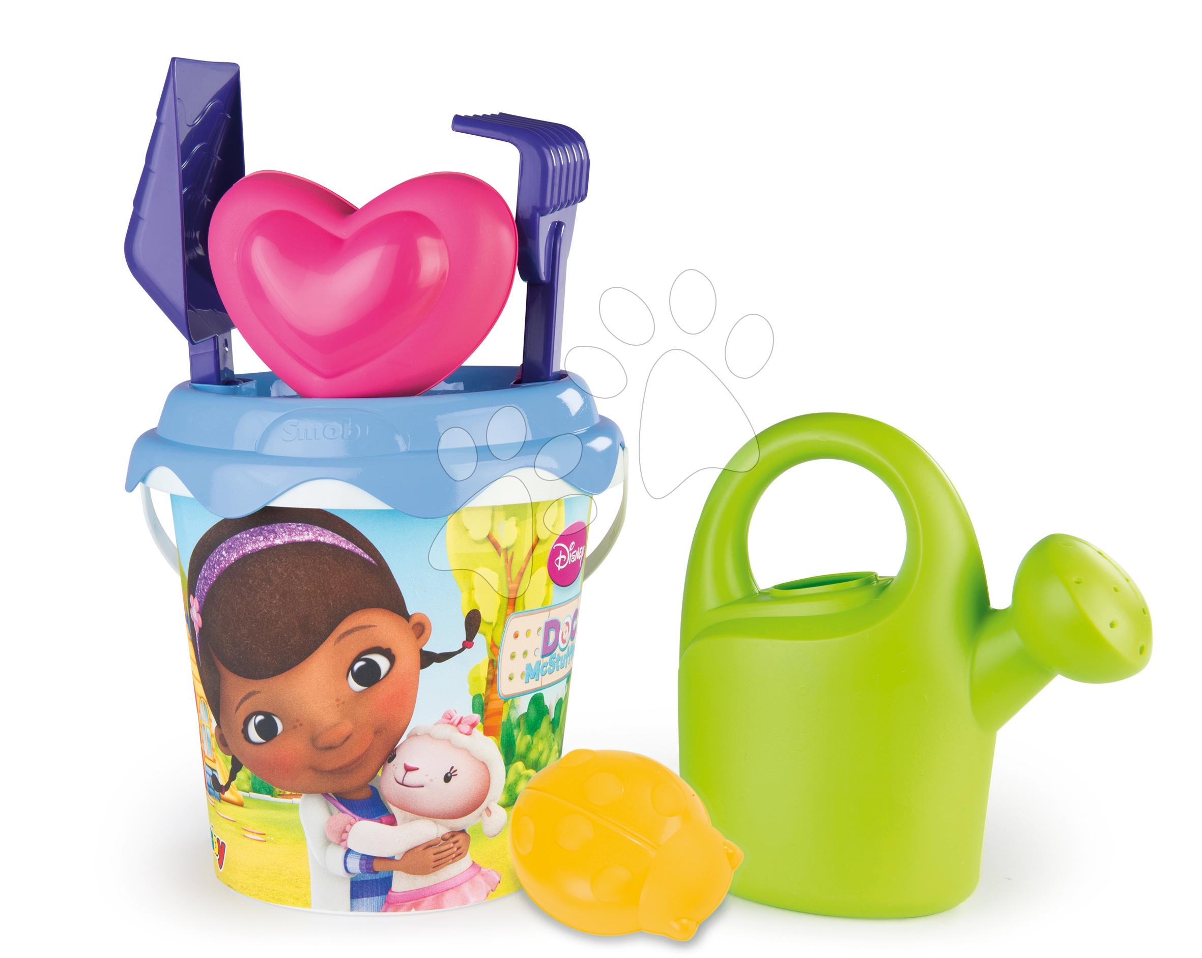 Doc McStuffins kbelík set s konví Smoby a 2 bábovičky 6 ks