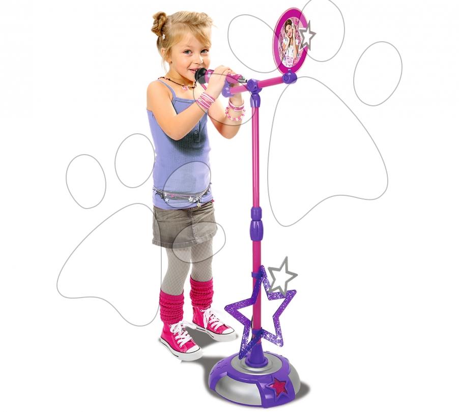 Staré položky - Mikrofón Violetta Zlatá edícia Smoby so stojanom ružovo-fialový