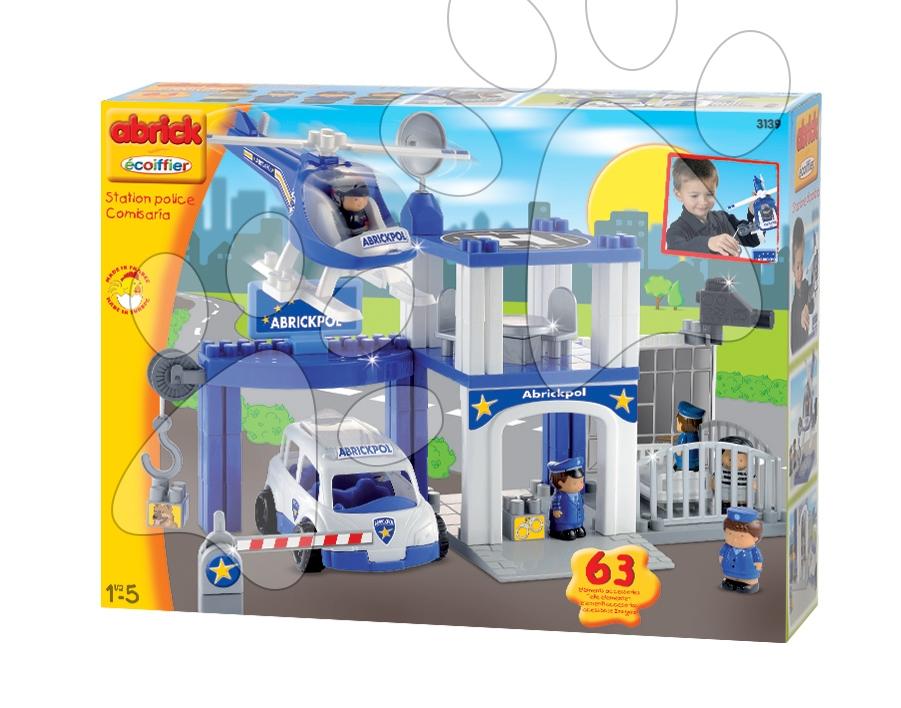 Stavebnica Abrick Écoiffier policajná stanica s autami, helikoptérou a figúrkami, 63 dielov od 18 mes