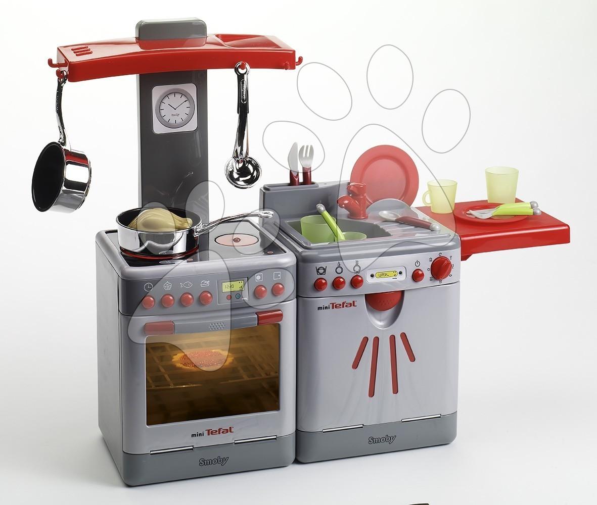 Kuchyňka Mini Tefal Smoby s myčkou nádobí, 17 doplňky, 18 zvuky a 5 světly