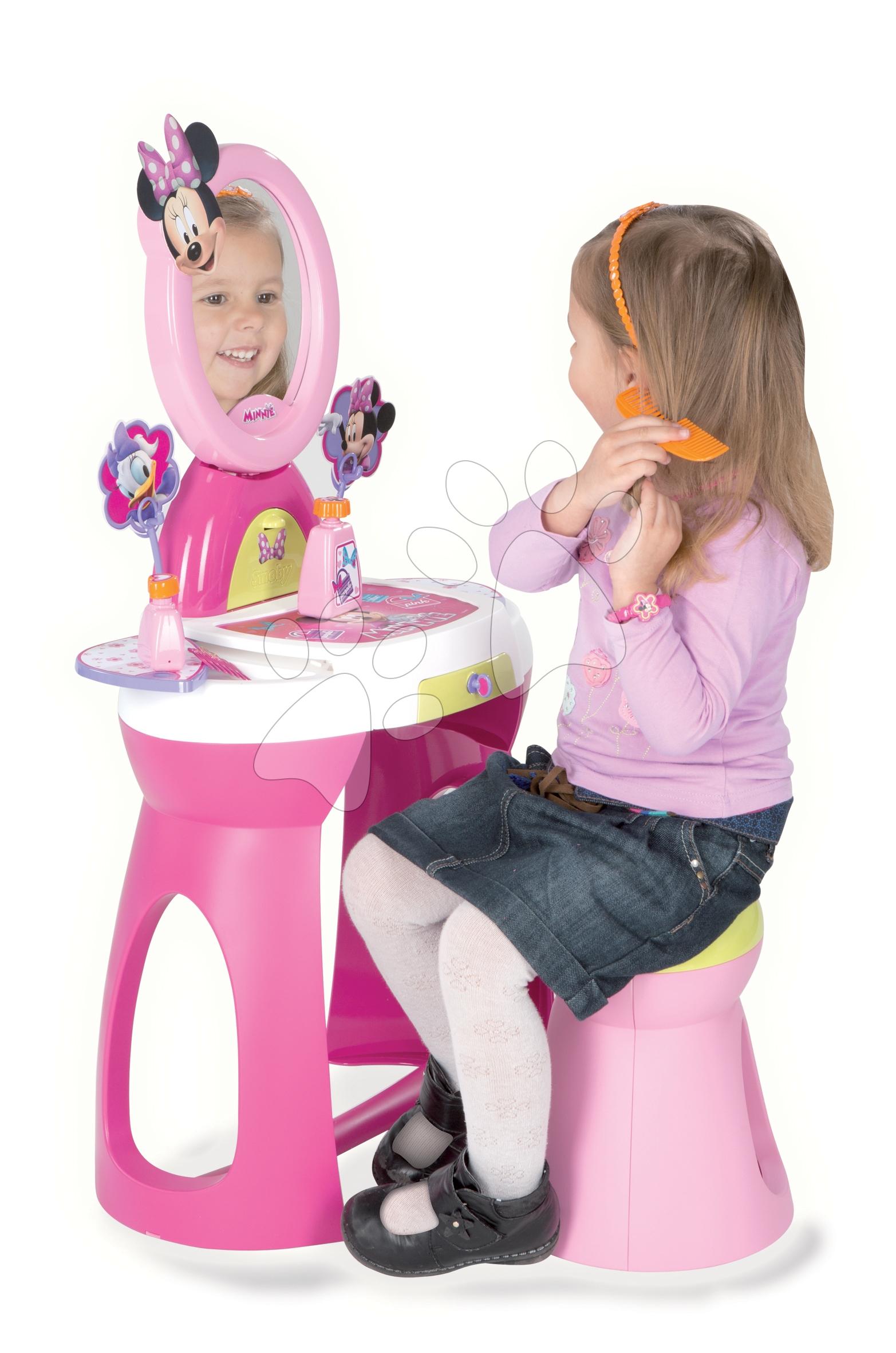 Staré položky - Kozmetický stolík Minne 2v1 Smoby so stoličkou a 10 doplnkami