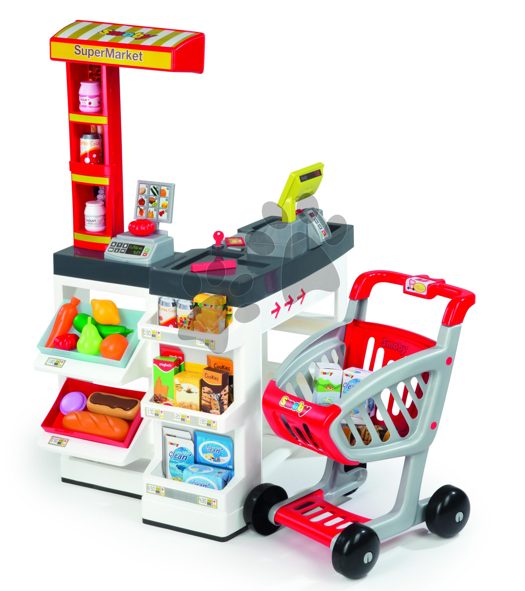 Obchůdek SuperMarket Smoby s nákupním košíkem a 49 doplňky