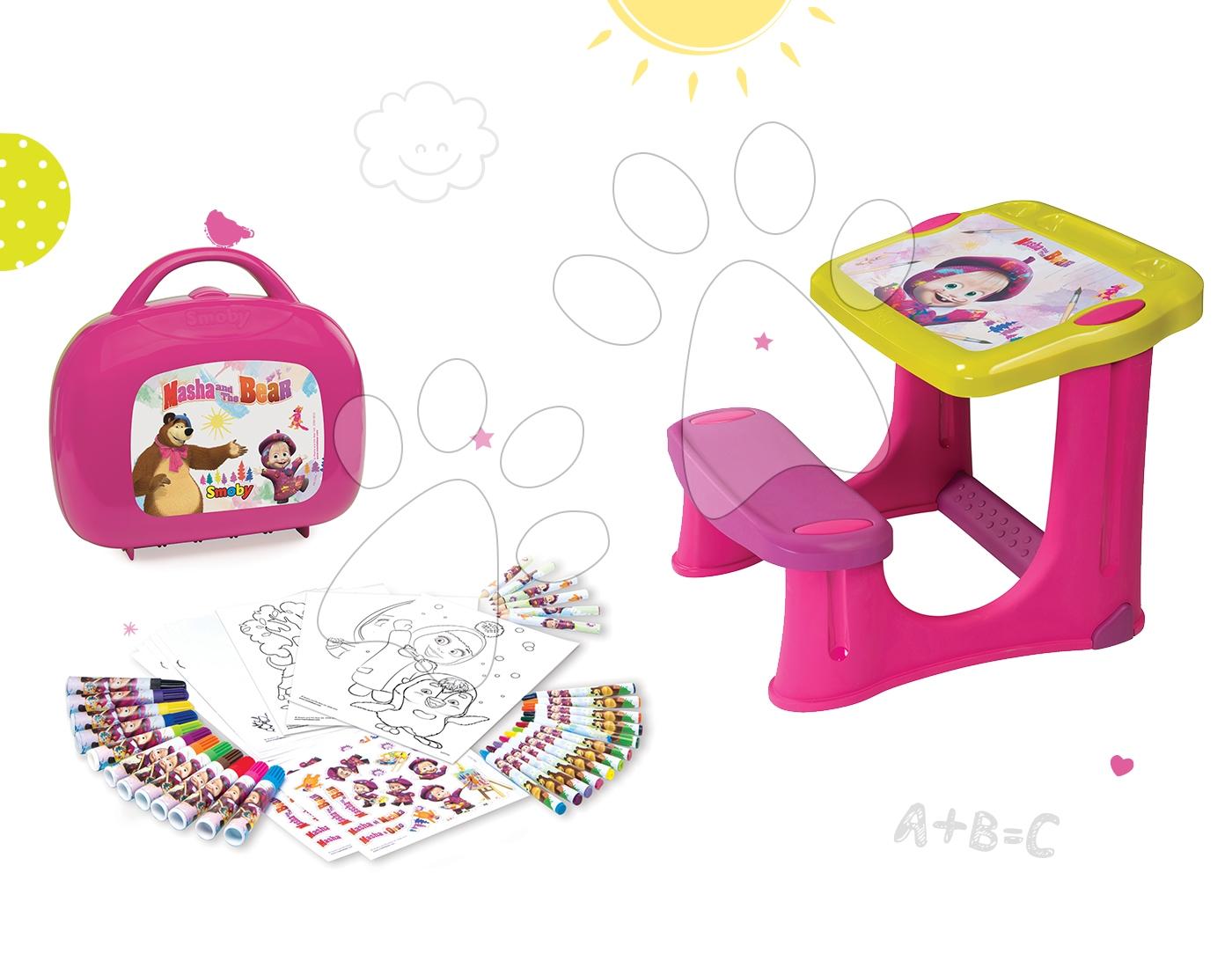 Set školní lavice Máša a medvěd Smoby s 20 doplňky a výtvarný set v kufříku s 60 doplňky od 24 měsíců