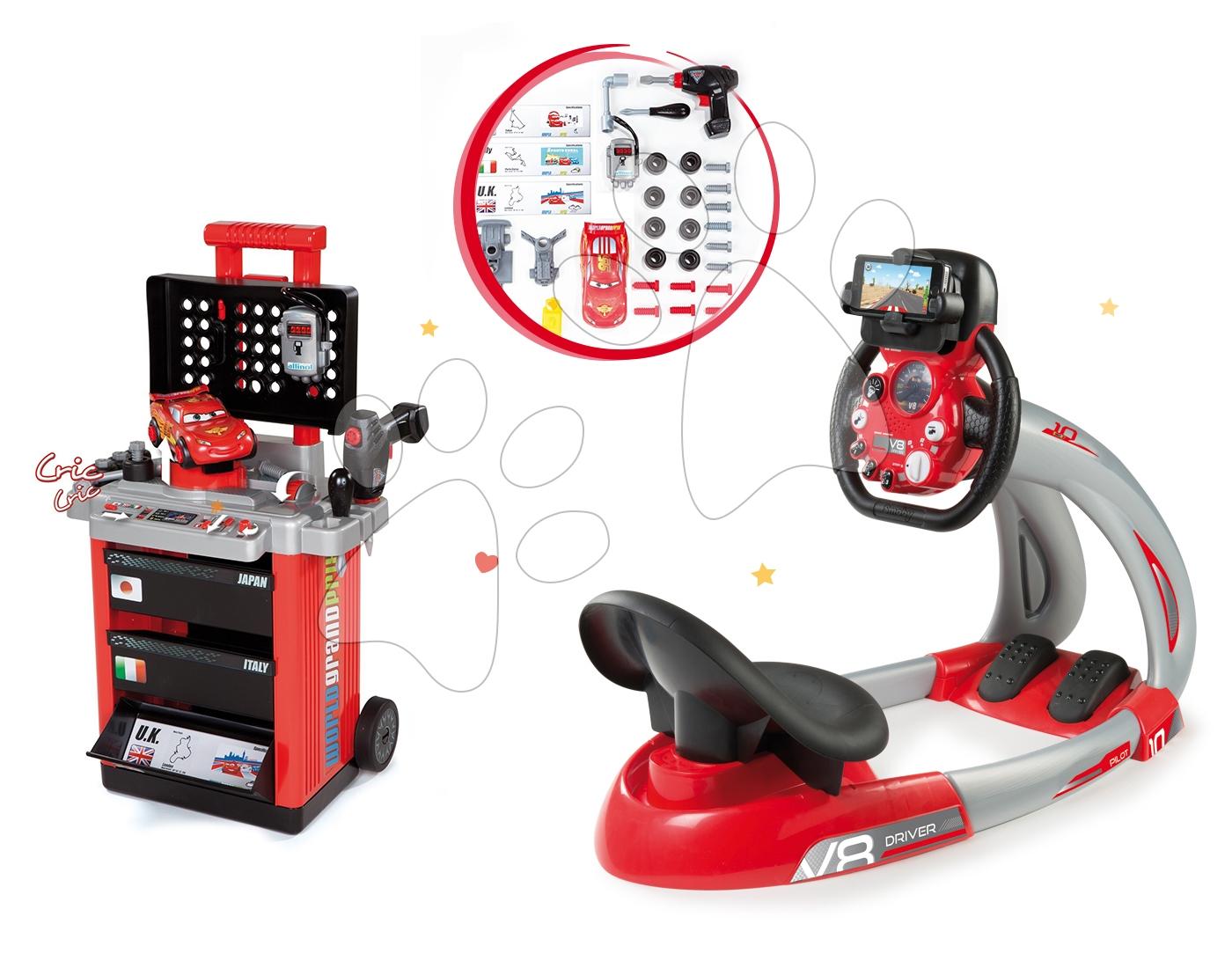 Set trenažér V8 Driver Smoby elektronický so zvukom a svetlom a pracovný vozík Autá s autom McQueen