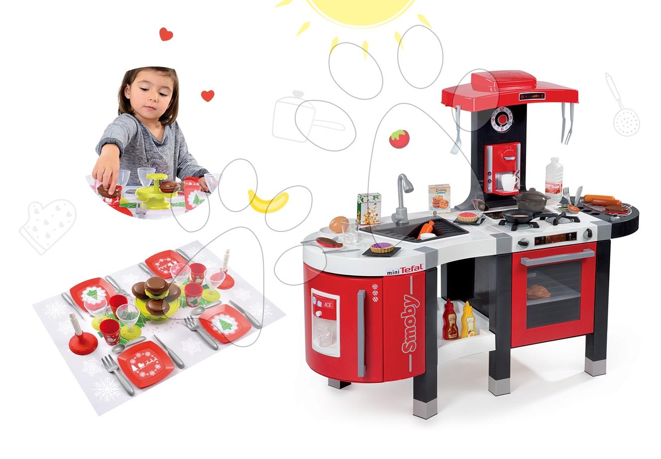 Kuchynky pre deti sety - Set kuchynka Tefal French Touch Bublinky Smoby s magickým bublaním a obedový set so sviečkami