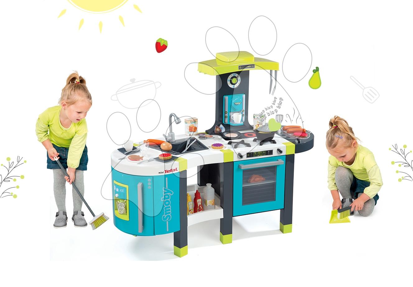 dokazati angleško Set kuchynka pre deti Tefal French Touch Smoby s ľadom a  kávovarom a upratovacie pomôcky 3v1