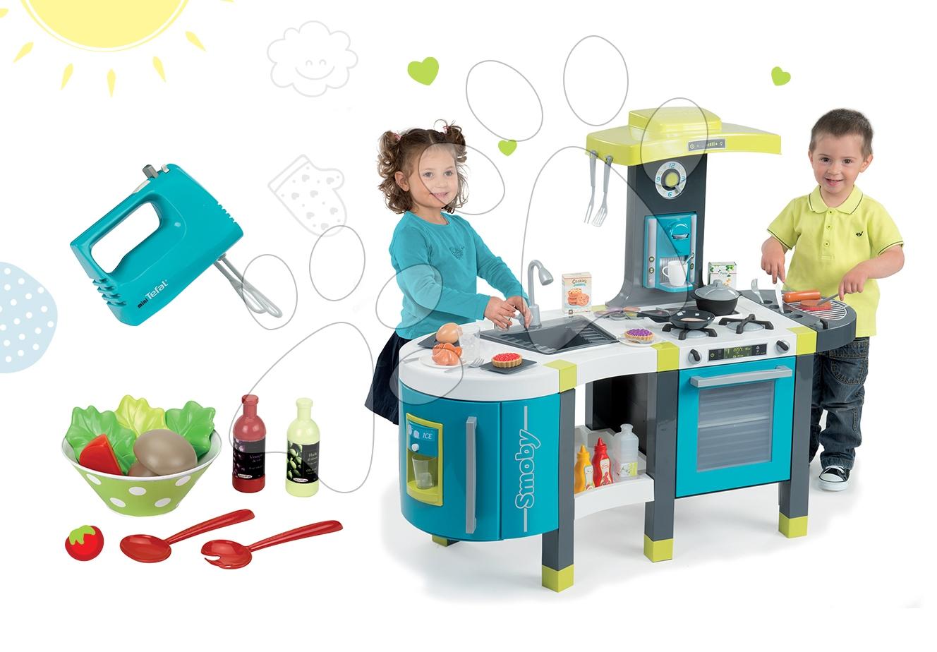 Set dětská kuchyňka Tefal French Touch Smoby s ledem a kávovarem, ruční mixér Tefal a miska se salátem