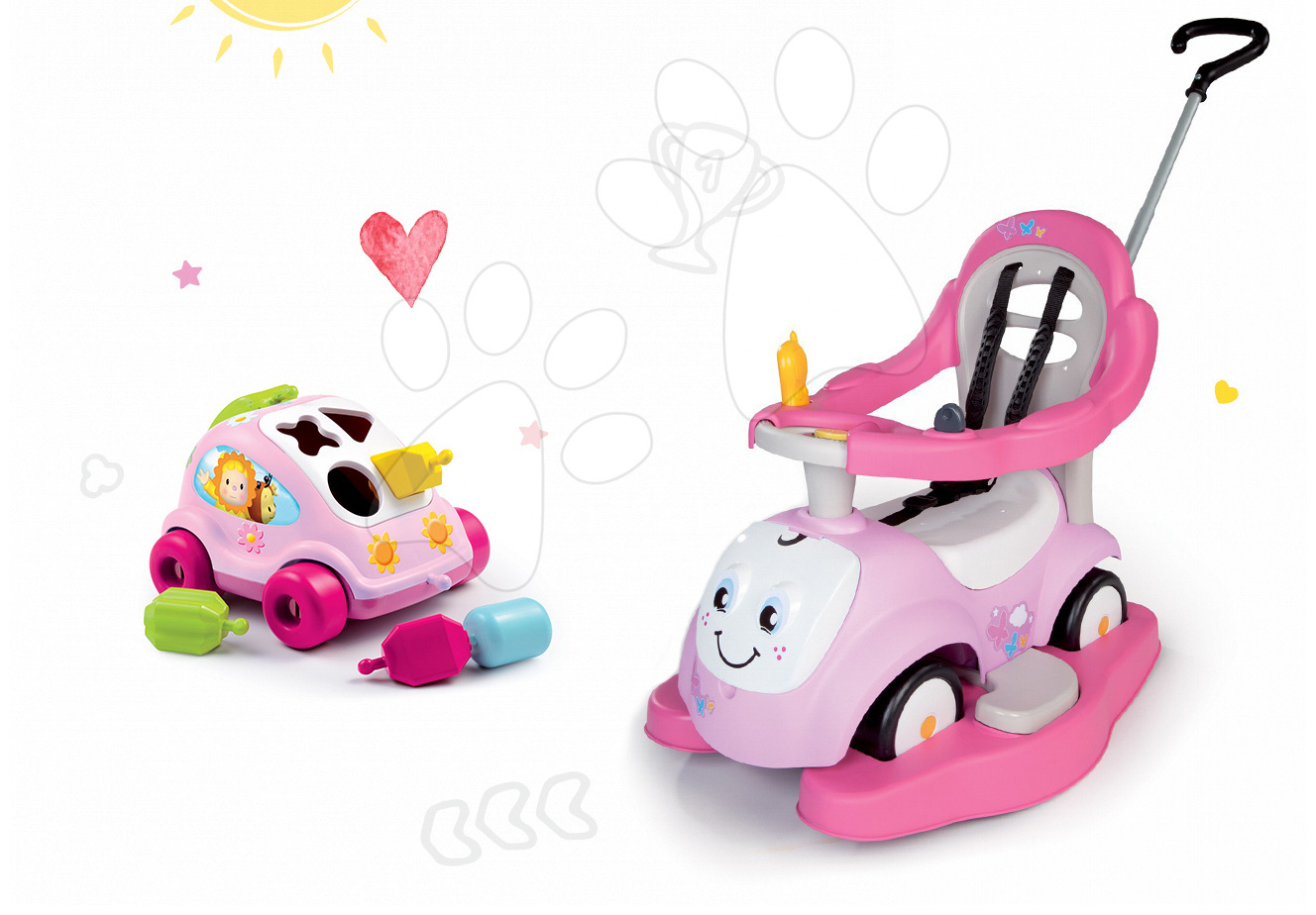 Set odrážedlo Maestro II Balade s houpačkou růžové a autíčko Brouček Cotoons růžové Smoby od 6 měsíců