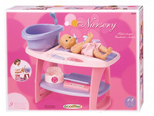 Staré položky - Přebalovací stolek s koupelnou Nursery Écoiffier růžový a 8 doplňků od 18 měsíců