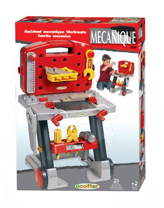 Staré položky - Mecanique pracovný stolík Écoiffier na kolieskach s náradím 23 doplnkov od 24 mes