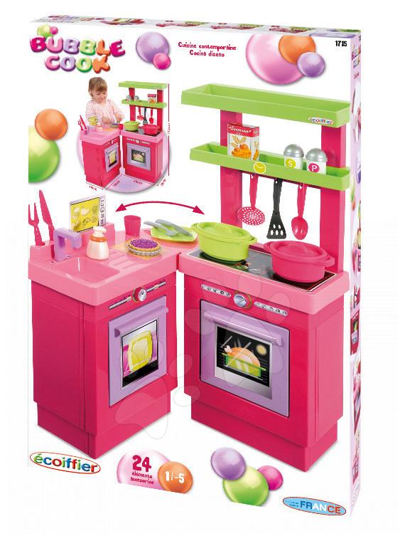 Játékkonyha Bubble Cook Écoiffier modern 24 darab kiegészítővel 18 hó-tól
