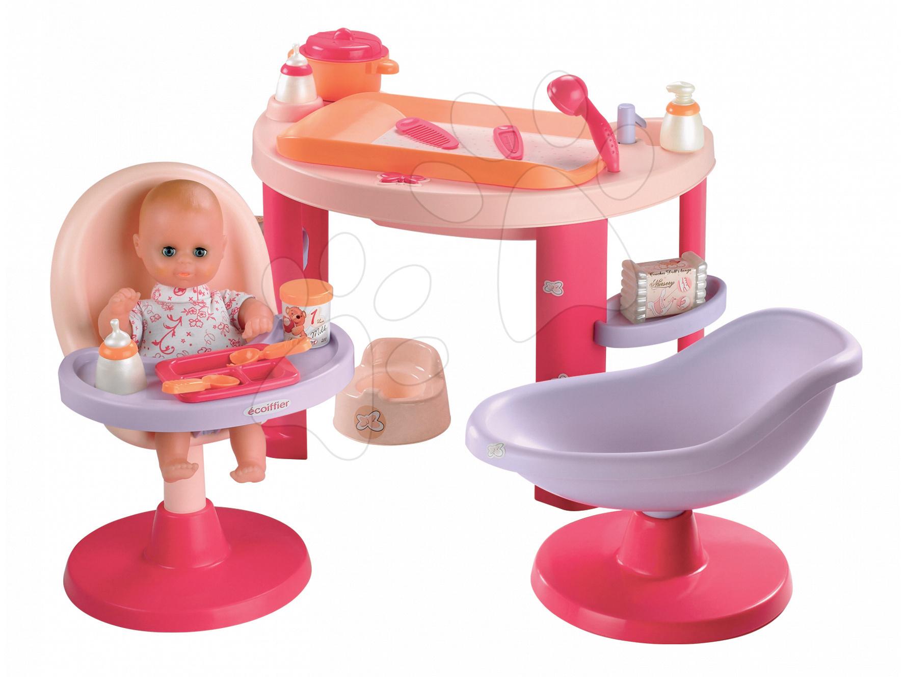 Pečovatelské centrum pro panenky - Stůl na přebalování panenky Nursery 3v1 Écoiffier s křeslem a židlí od 18 měsíců