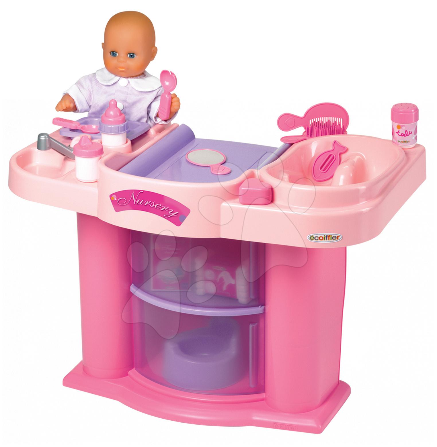 Écoiffier 2856 Prebaľovací stolík s dvierkami bez bábiky 58*40,5*74 cm od 18 mes