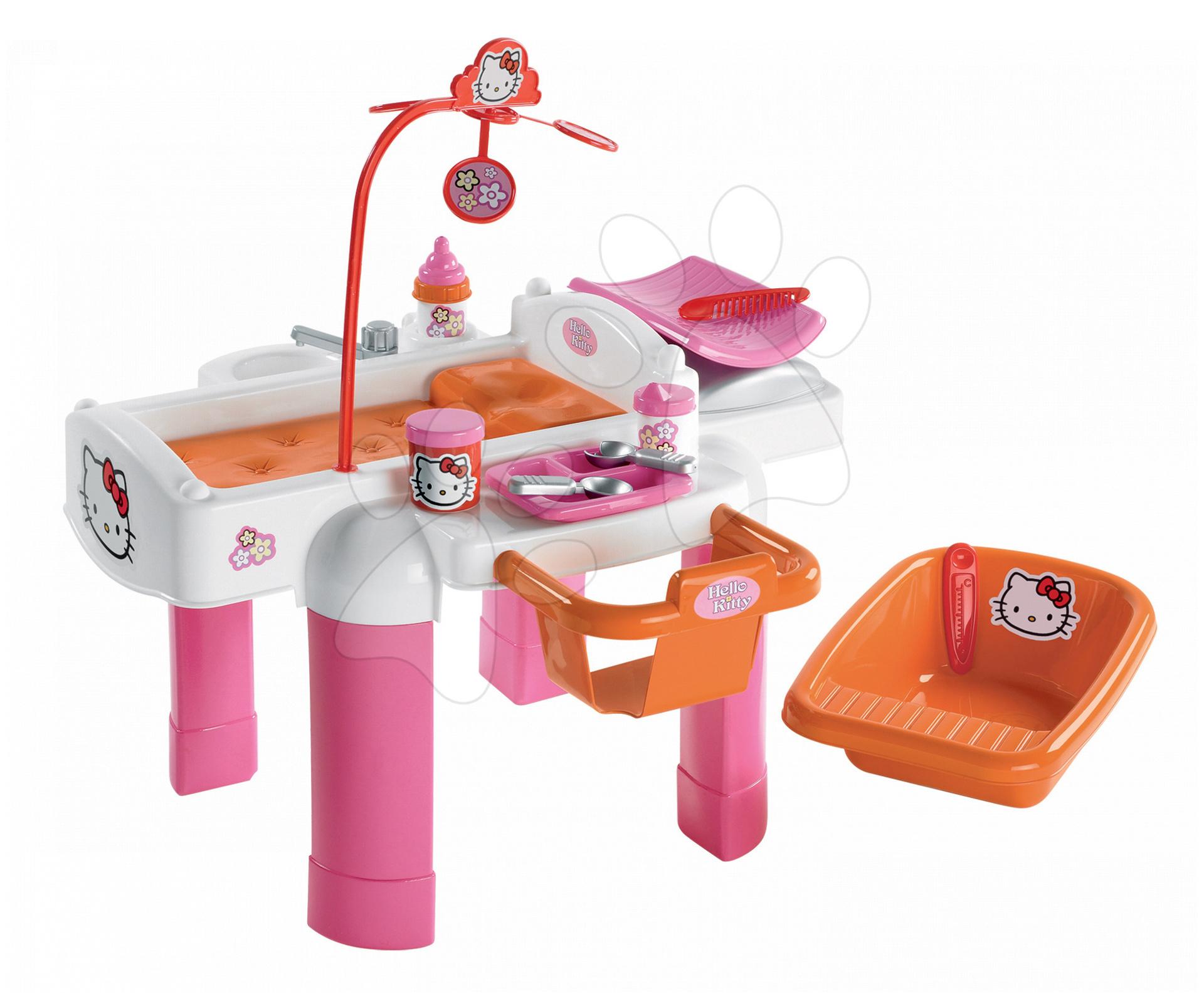 Hello Kitty Přebalovací stolek s doplňky pro panenku Écoiffier 22 doplňků od 18 měsíců