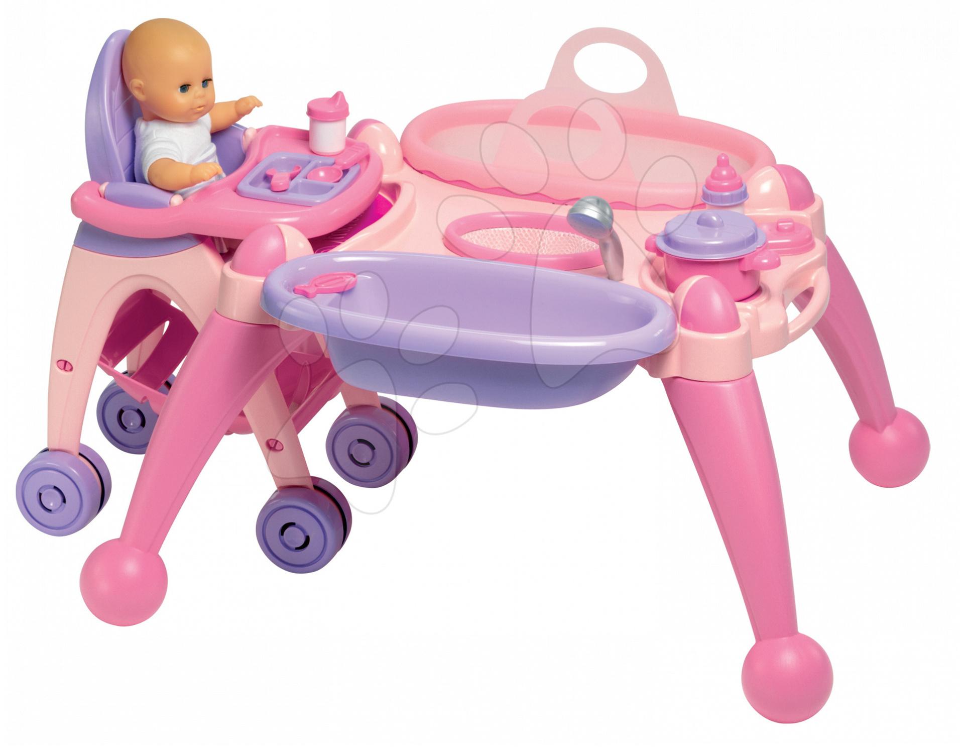 Přebalovací stolek pro panenku Écoiffier se židlí, panenkou a 13 doplňky od 18 měsíců