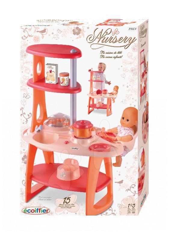 Prebaľovací stolík Nursery Écoiffier s poličkami oranžový/ružový od 18 mes
