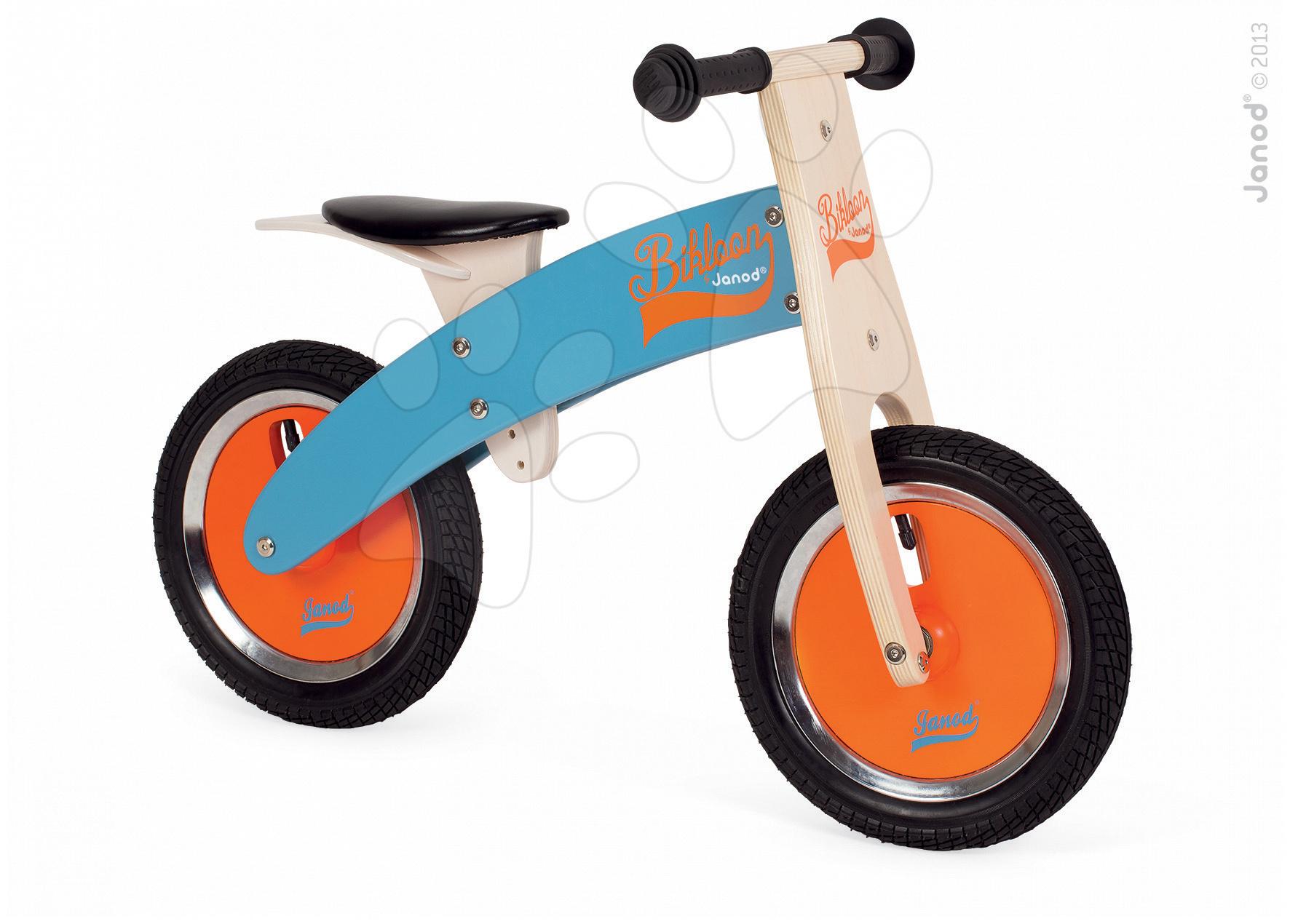 Drevené odrážadlá - Drevený balančný bicykel Bikloon Janod Blue&Orange od 3 rokov