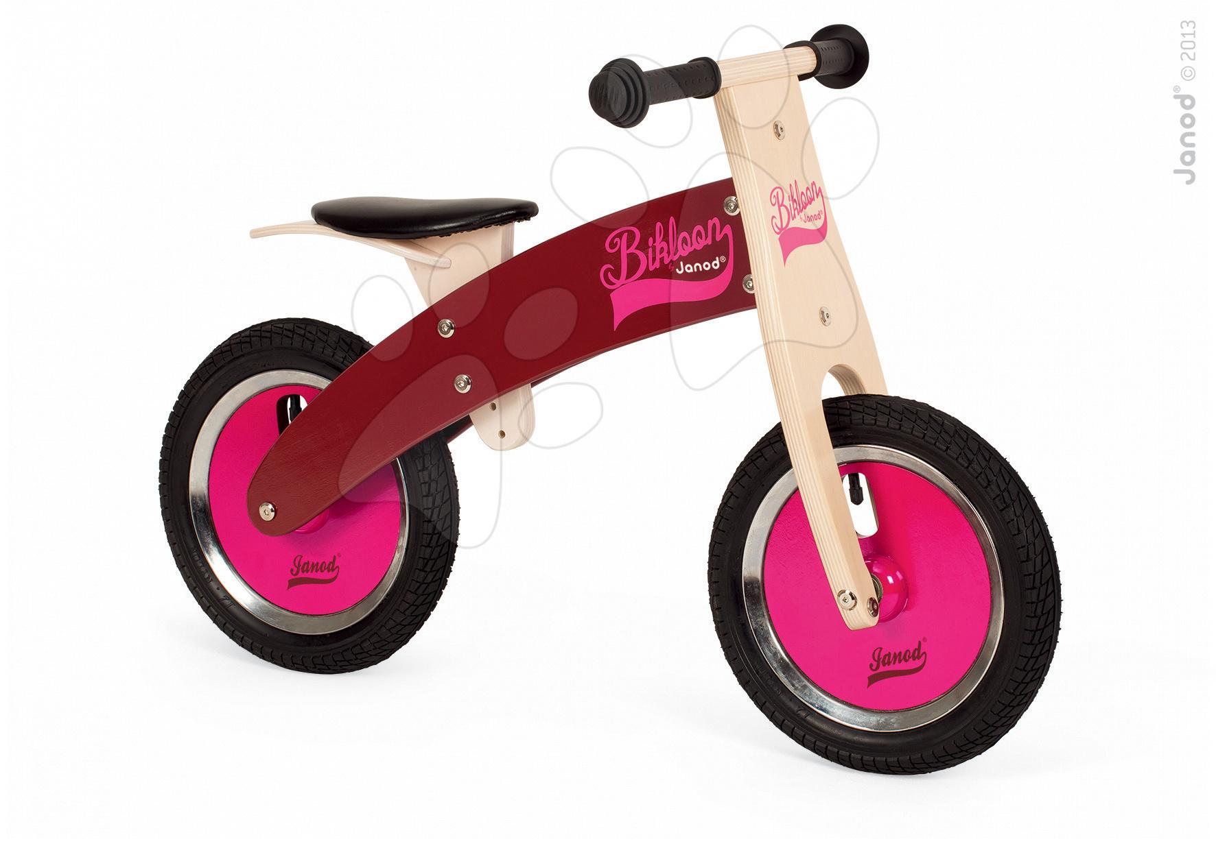 Drevené odrážadlá - Drevený balančný bicykel Bikloon Janod Pink&Burgundy od 3 rokov