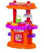 Kuchyňka s obchodem Écoiffier oboustranná s 21 doplňky oranžovo-fialová od 18 měsíců
