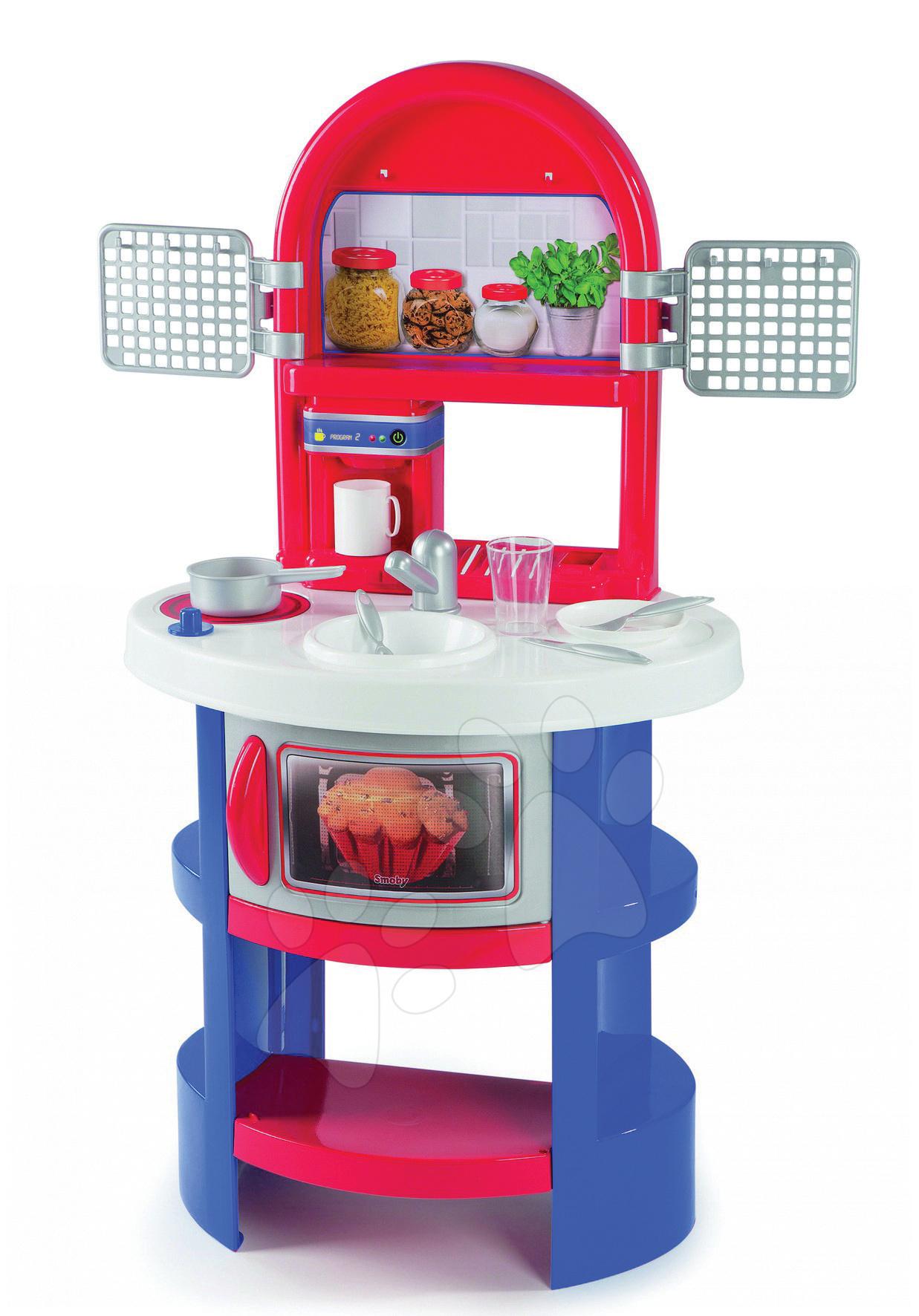 Kuchyňka s kávovarem a mikrovlnkou Smoby 9 doplňků, modrá