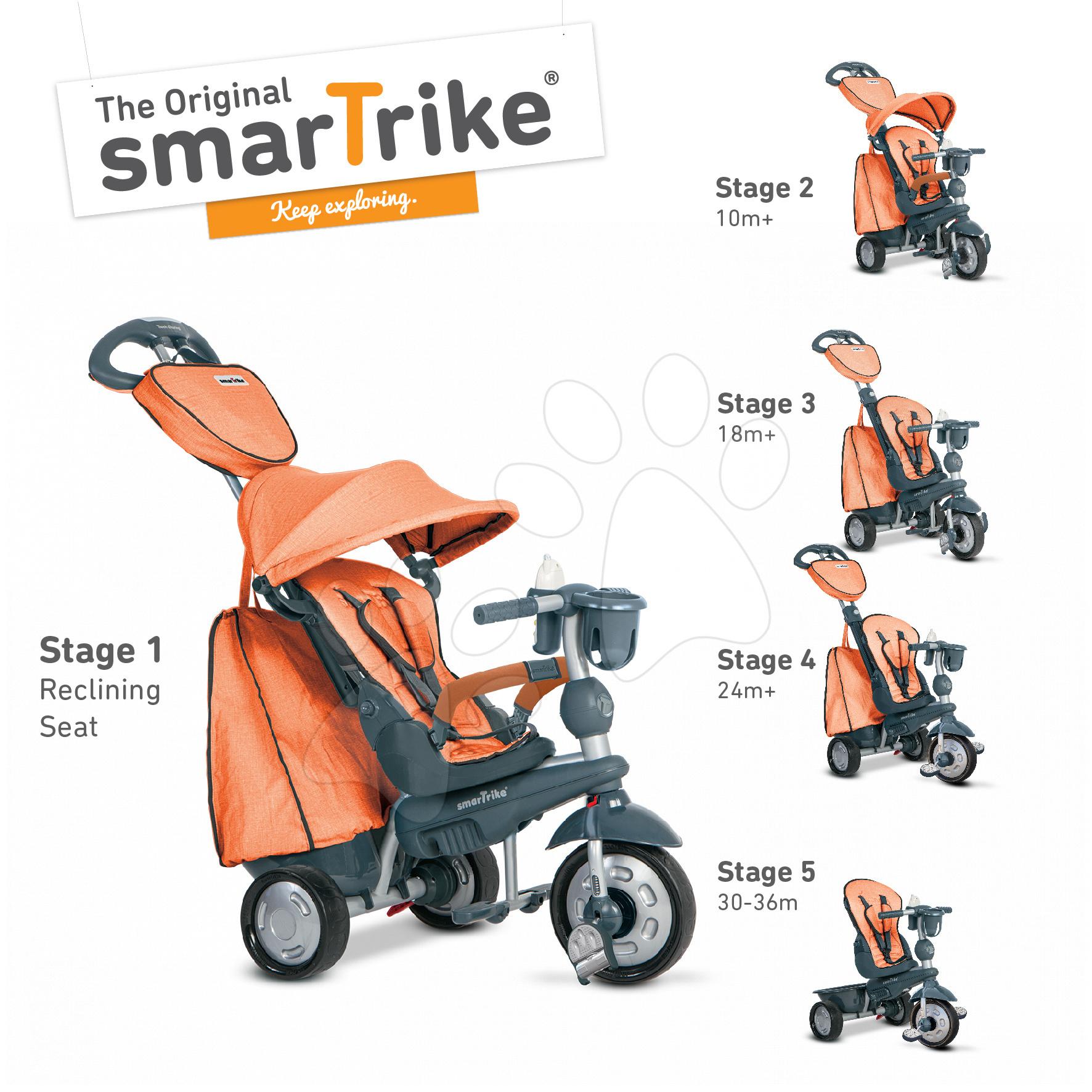 Tříkolka Explorer Orange smarTrike 360° řízení s polohovatelnou opěrkou 5v1 od 10 měsíců šedo-oranžová