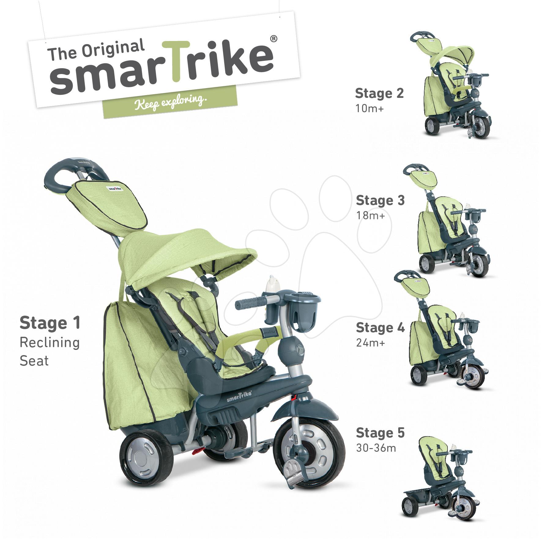 Dětská tříkolka Explorer Green 5v1 smarTrike 360° řízení s polohovatelným sedákem od 10 měsíců šedo-zelená