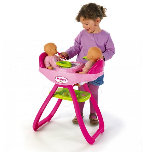 Staré položky - Jídelní židle Minnie Smoby pro 42 cm panenky dvojčata se 4 doplňky od 24 měsíců