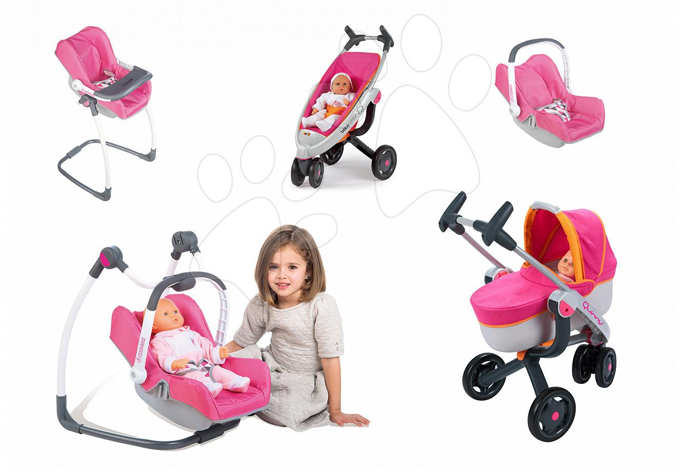 Set kočárek pro panenku 3v1 Maxi-Cosi & Quinny Smoby (70 cm ručka) a houpačka s autosedačkou a židličkou 3v1