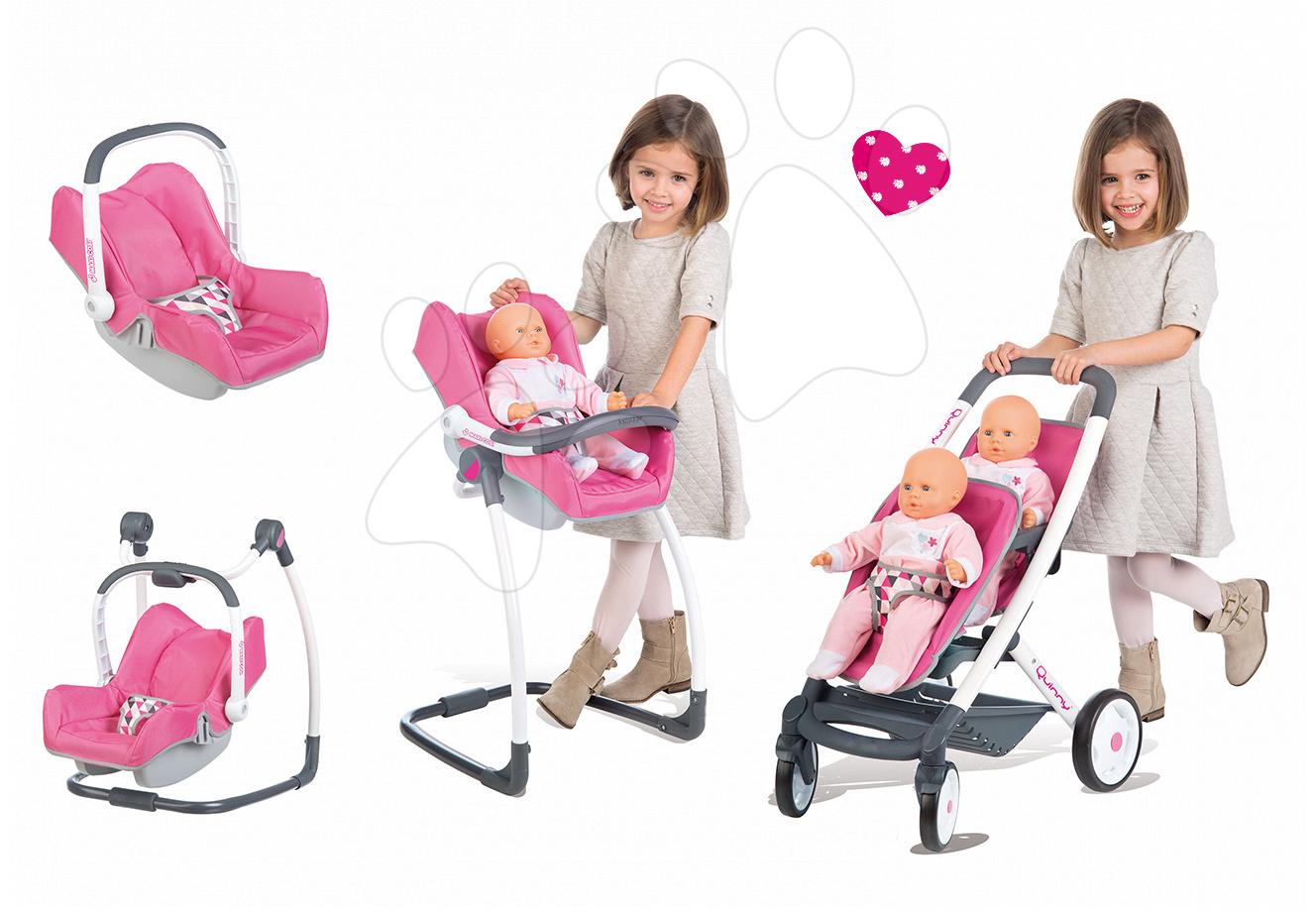 Set dětský kočárek pro dvě panenky 4v1 retro Maxi Cosi & Quinny Smoby (65,5 cm ručka) a židle, houpačka s autosedačkou