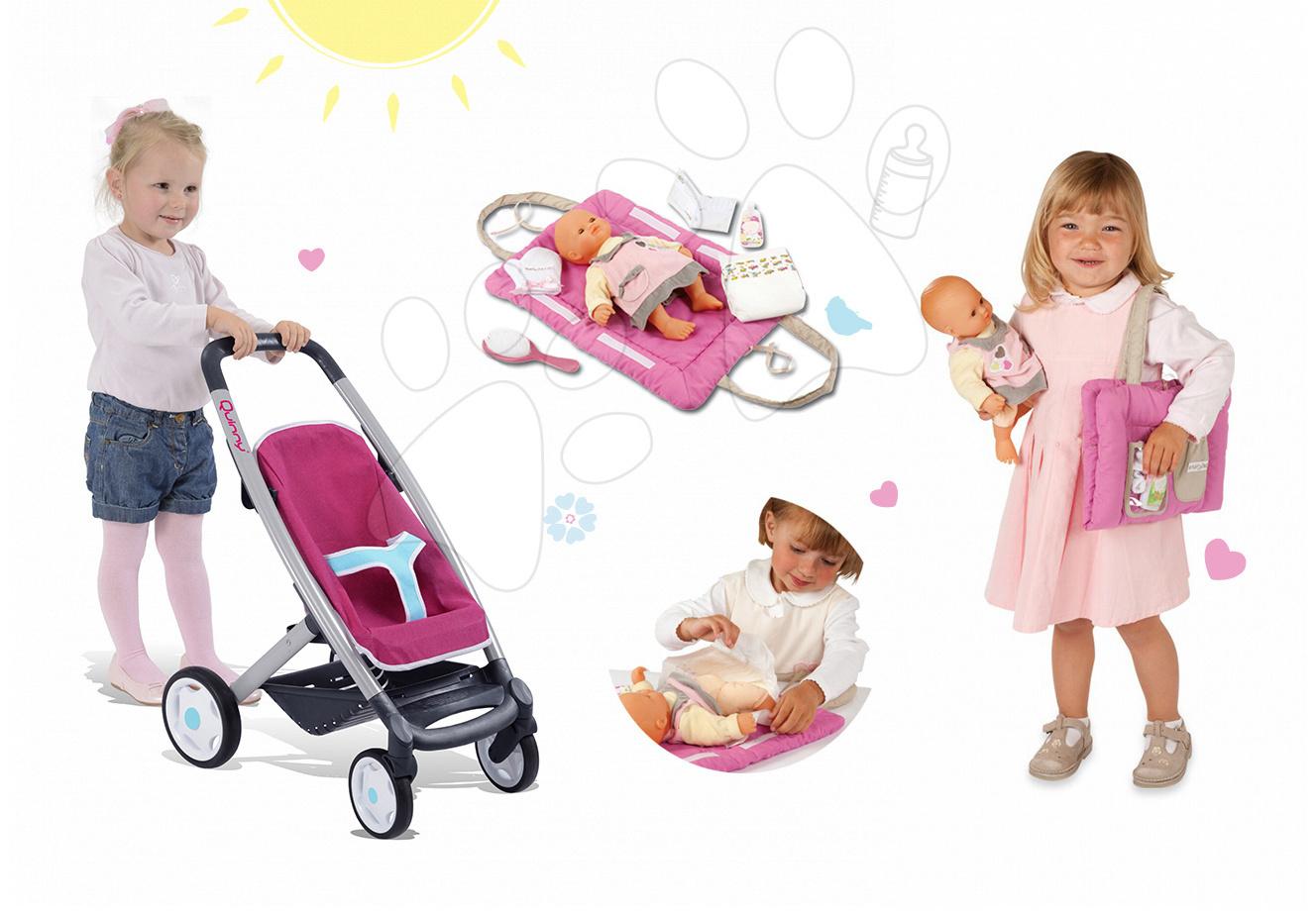 Kočíky pre bábiky sety - Set kočík pre bábiku Maxi Cosi & Quinny 3v1 Smoby (65,5 cm rúčka) a podložka na prebaľovanie