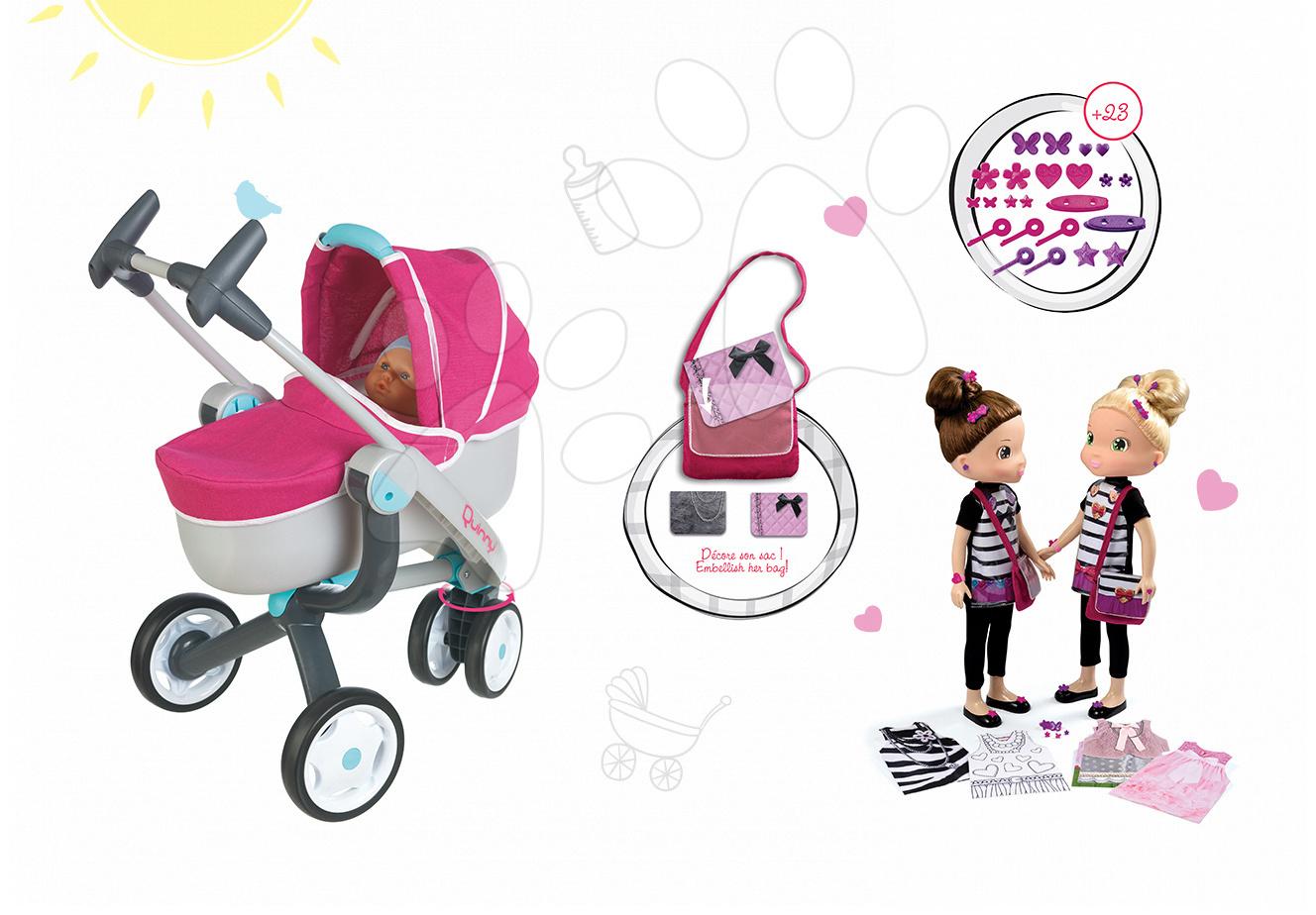 Kočíky pre bábiky sety - Set kočík pre bábiku Maxi Cosi & Quinny 3v1 Smoby (70 cm rúčka) a bábika Customize Me Doll 42 cm s doplnkami