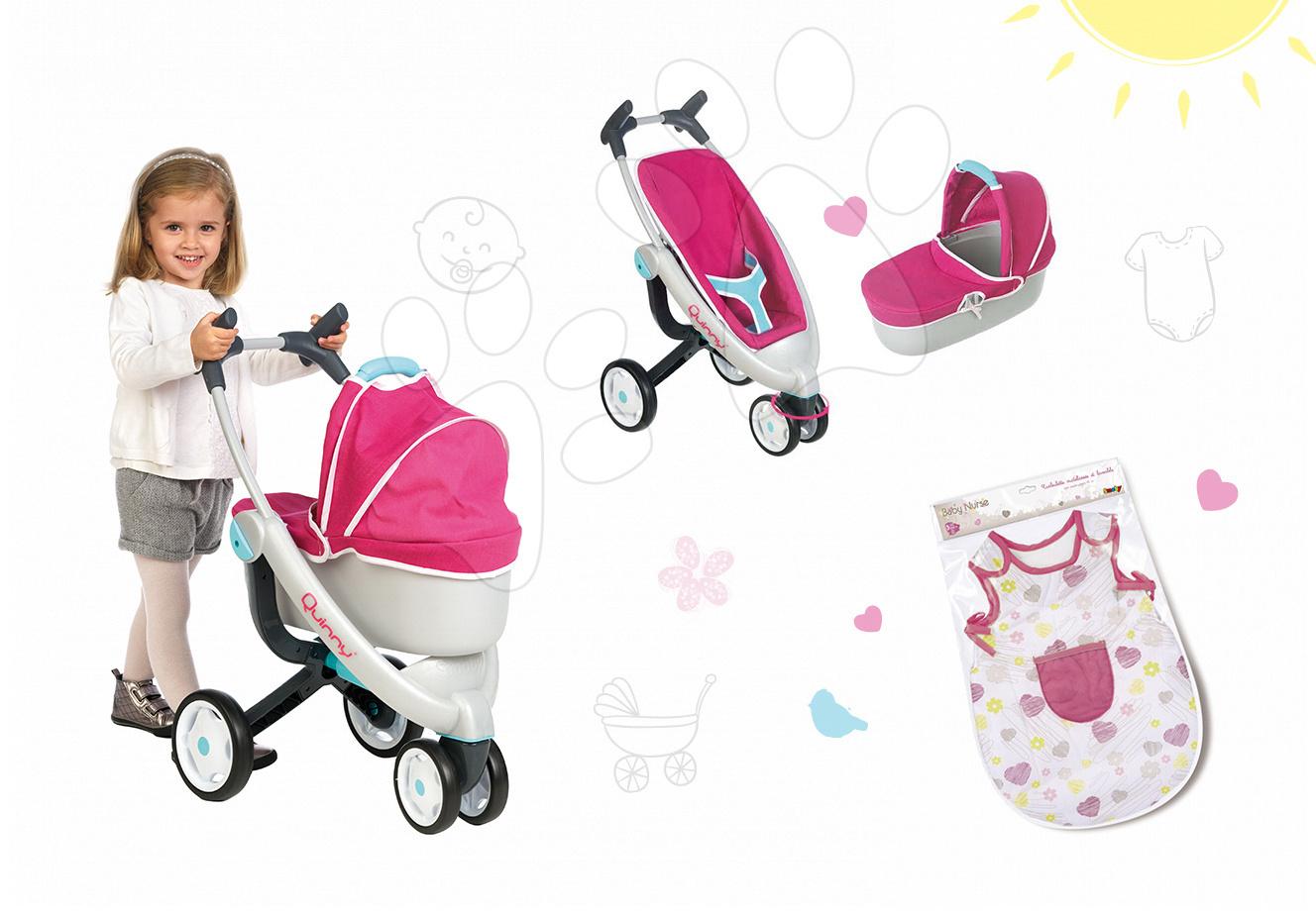 Set kočík pre bábiku Maxi Cosi & Quinny 3v1 Smoby (70 cm rúčka) a nočný úbor Baby Nurse pre 42 cm bábiku