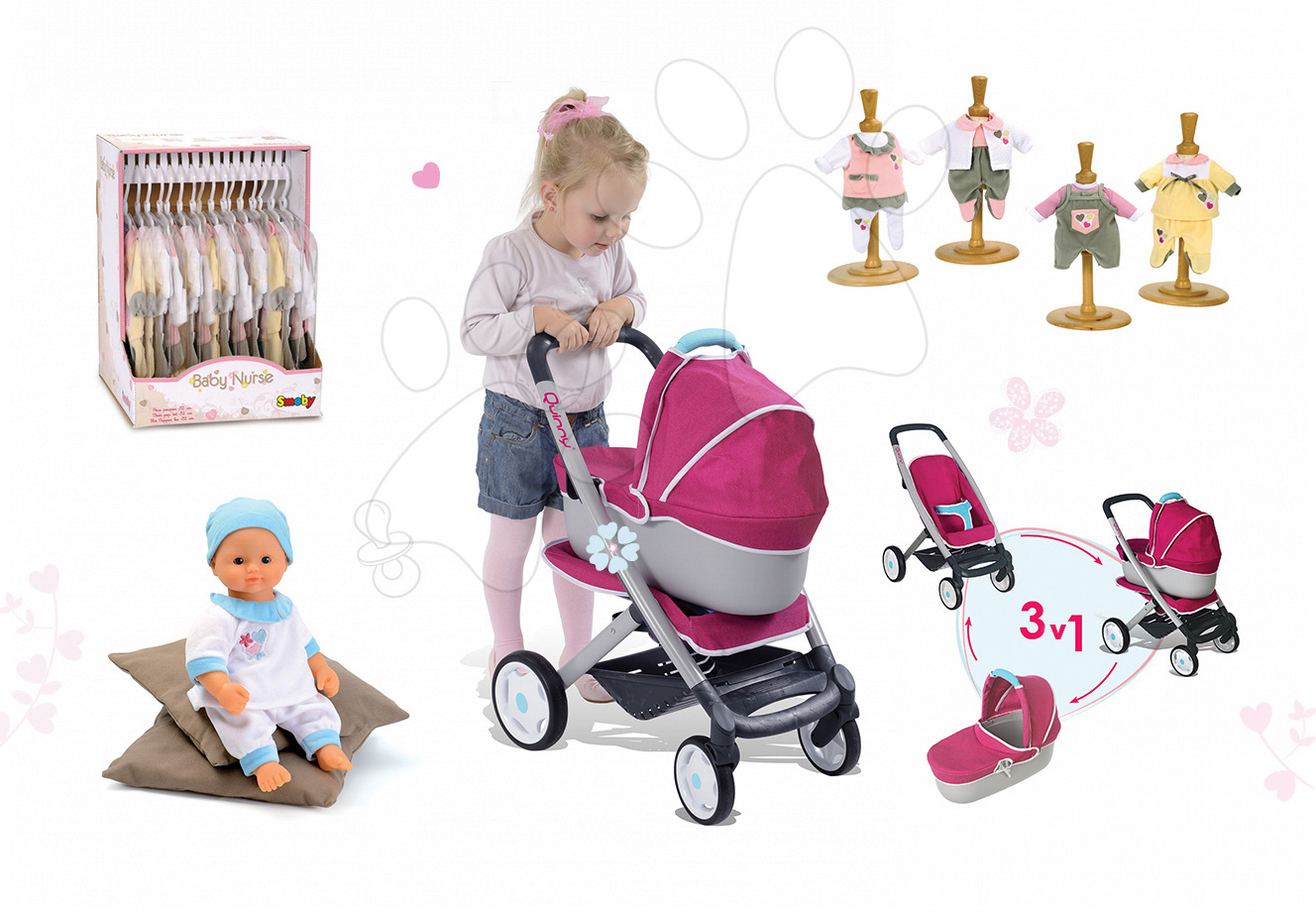 Set kočárek pro panenku Maxi Cosi & Quinny 3v1 Smoby a panenka Baby Nurse 32 cm a 3 šatičky