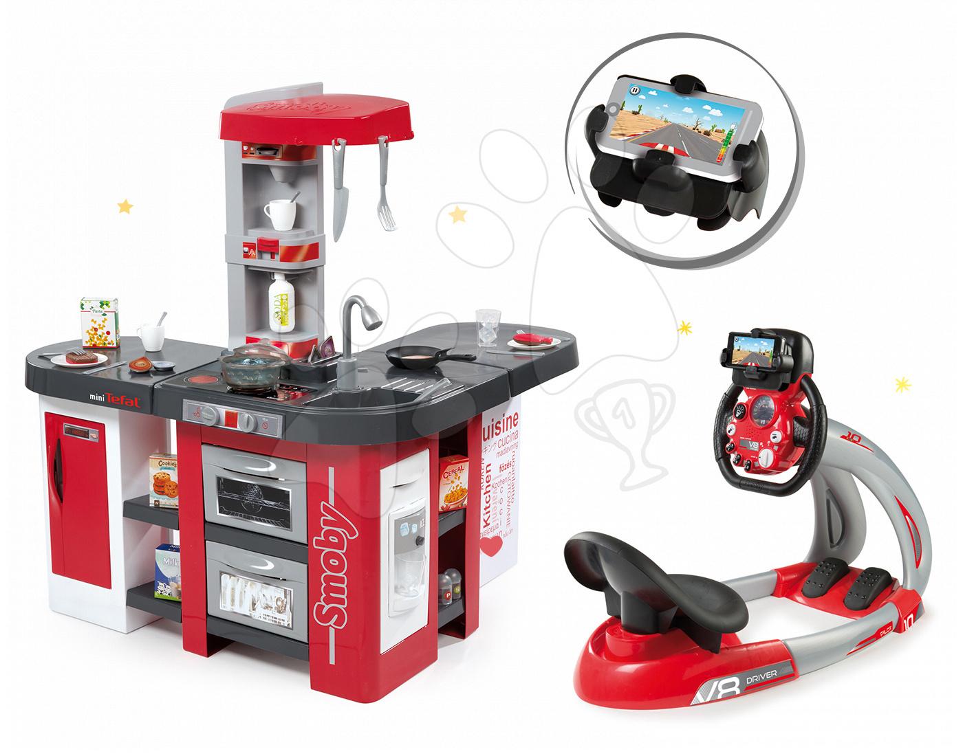 Set kuchynka Tefal Studio XXL Smoby s magickým bublaním a elektronický trenažér V8 Driver