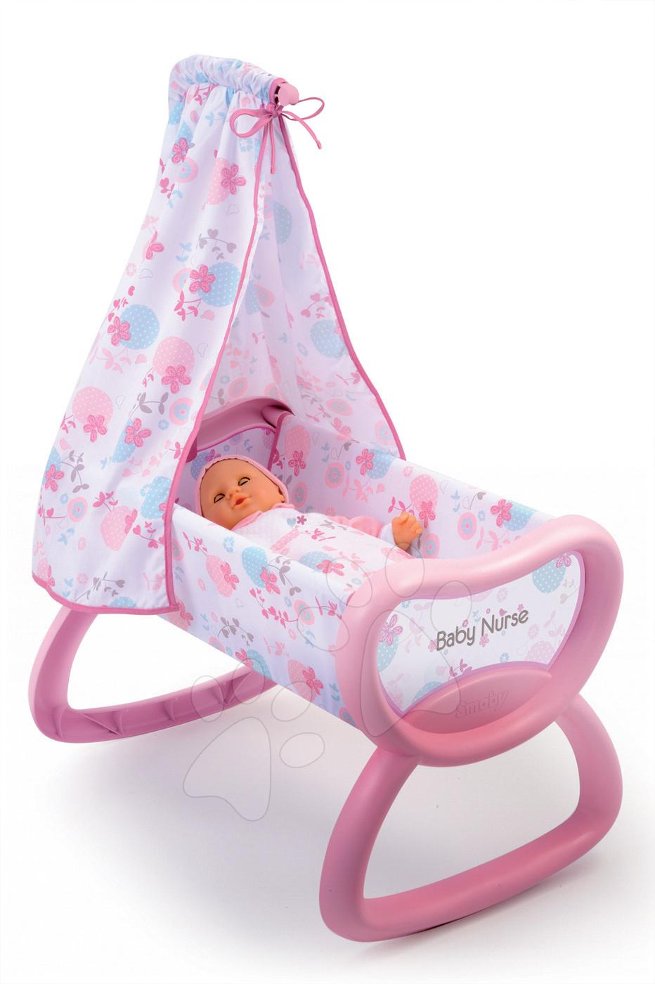 Postieľky a kolísky pre bábiky - Kolíska Baby Nurse Smoby s baldachýnom pre 52 cm bábiku od 18 mes