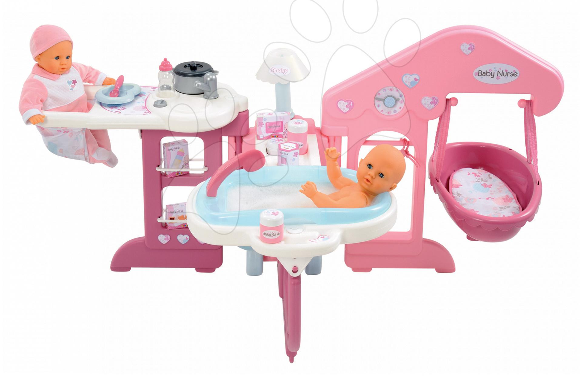 Domečky pro panenky - Pečovatelské centrum pro panenku Baby Nurse Smoby s 13 doplňky