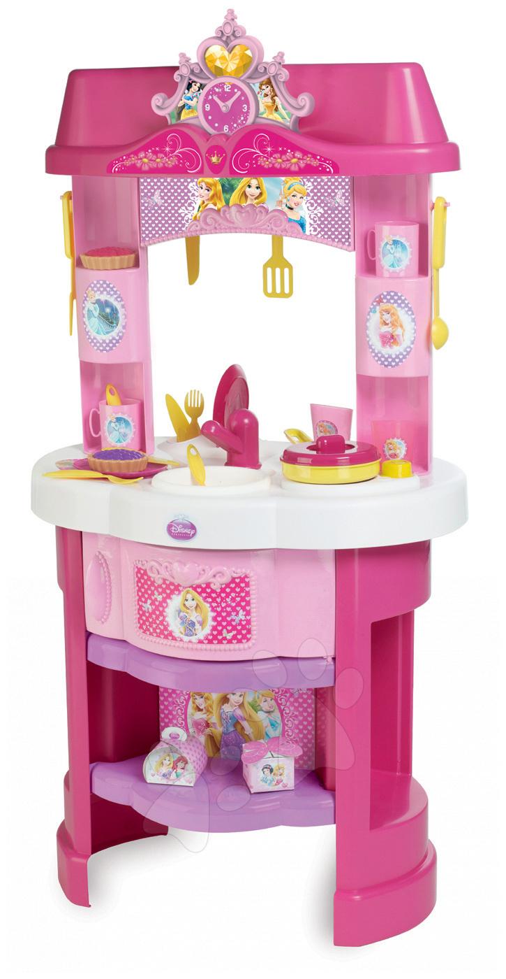 Obyčajné kuchynky - Kuchynka Disney Princezné Smoby s hodinami a 22 doplnkami