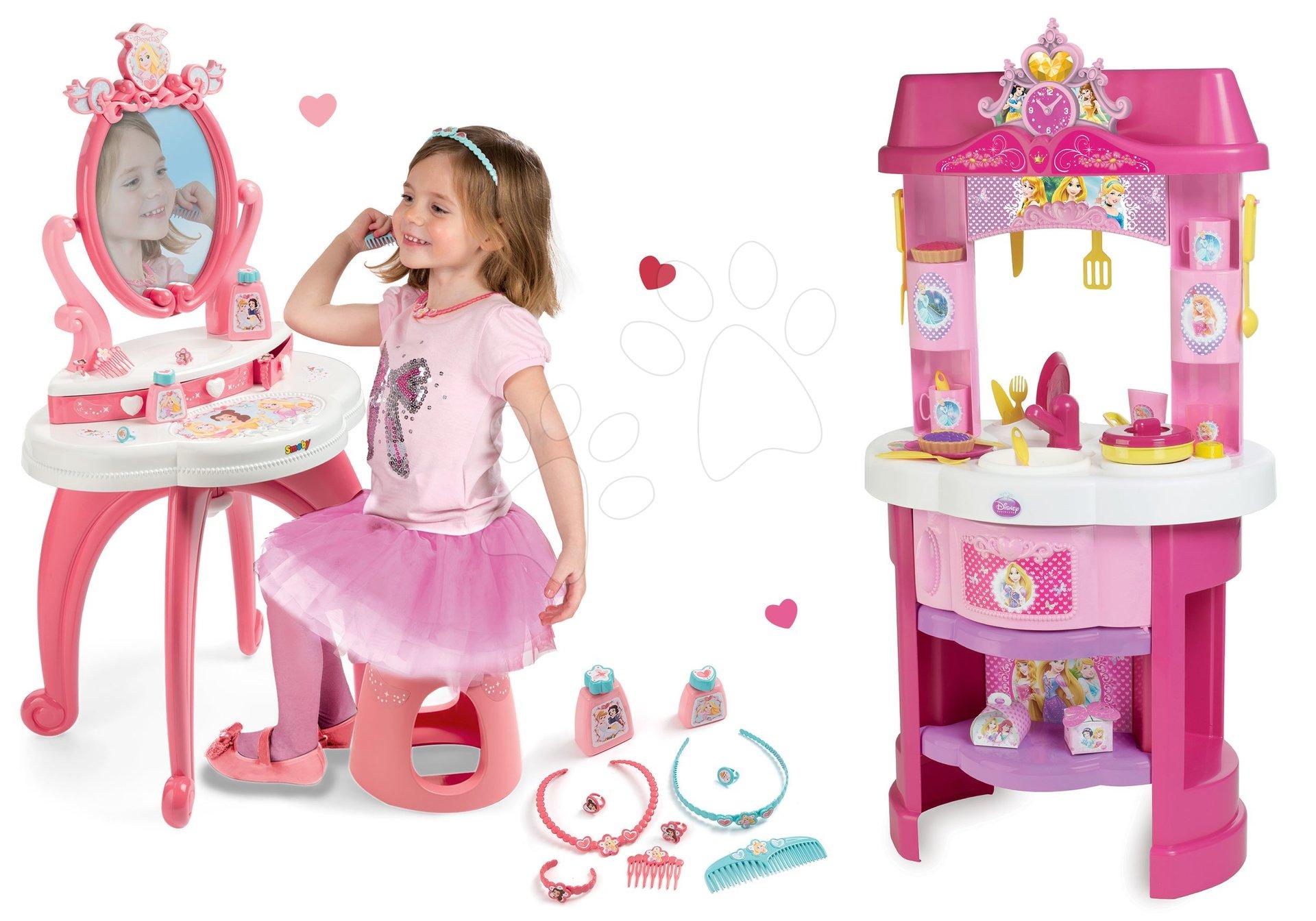 Kuchynky pre deti sety - Set kuchynka Disney Princezné Smoby s hodinami a kozmetický stolík so stoličkou